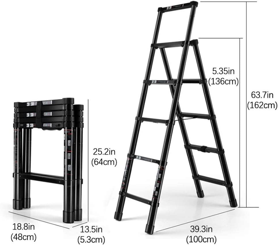 Qi Tai Escalera telescópica Plegable Escalera de extensión Escalera Gruesa de Aluminio Carga 330 LB for Mantenimiento de Edificios Interiores y Exteriores Escalera telescópica: Amazon.es: Hogar