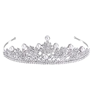 Clearine Women's Crystal Victorian Style Simulated Pearl Bling Wedding Bridal Crown Hair Tiara Silver-Tone 64bazm07Q