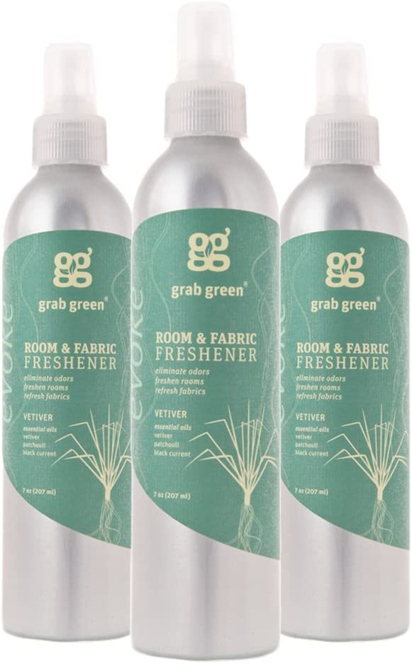 Grab Green NaturalRoom & Fabric Freshener, Phthalate-Free, Vetiver, 7 Ounce Bottle (3-Pack)