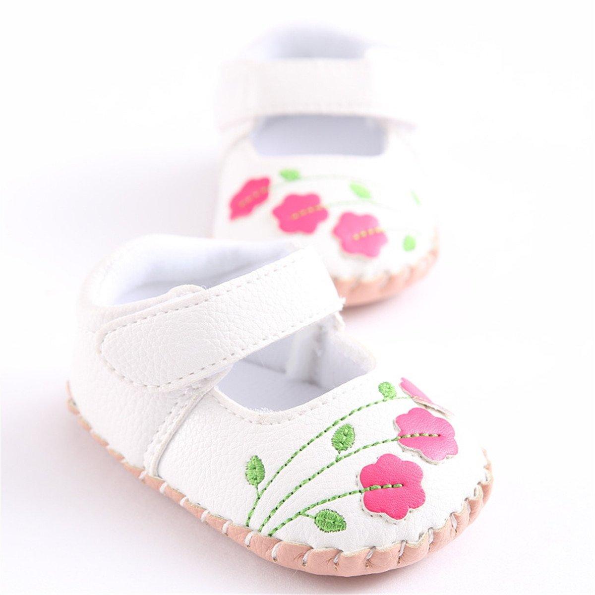 Meckior Infant Baby Girls Sandas Summer Soft Leather No-Slip Princess Shoes