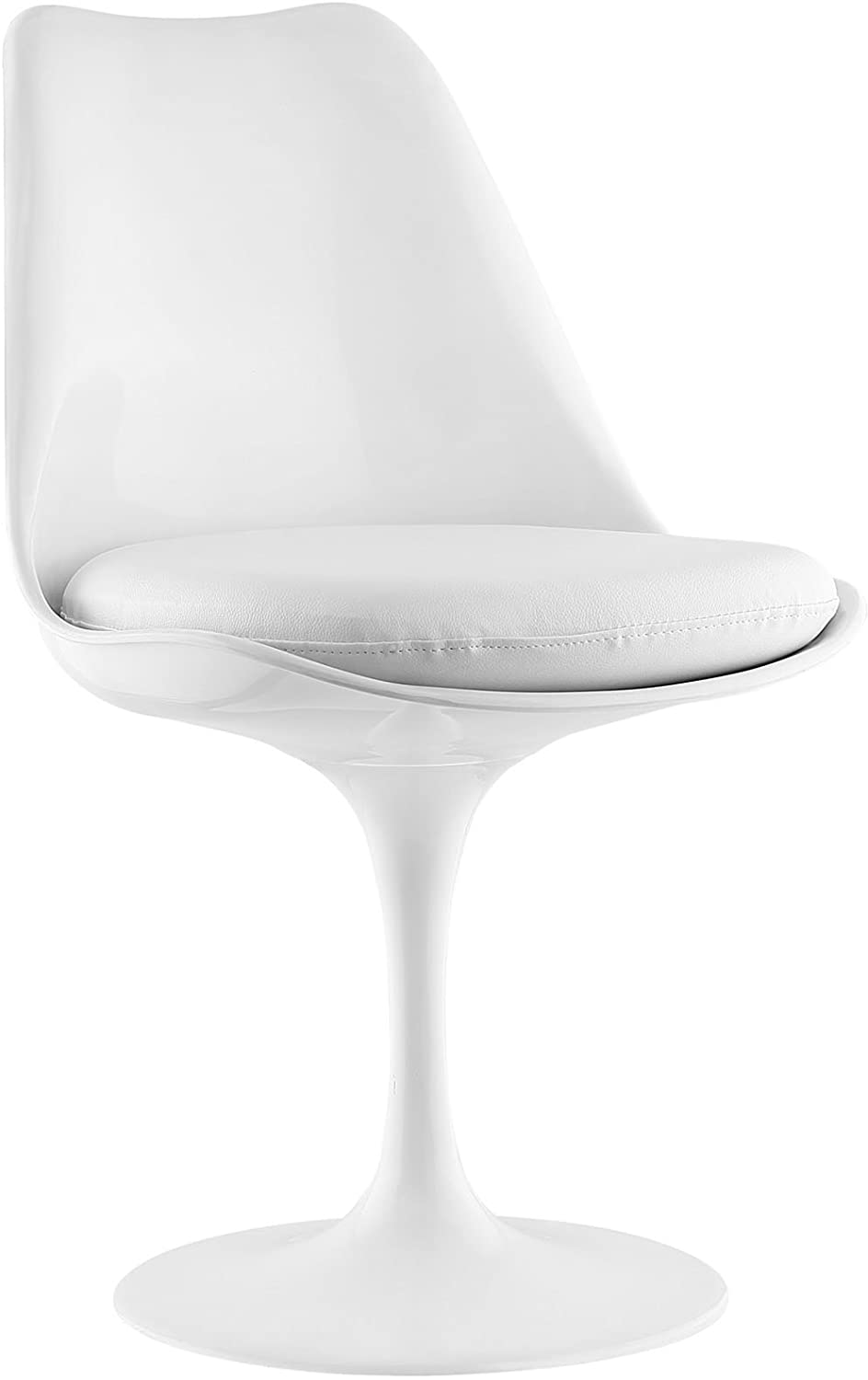 Modway Lippa Mid-Century Modern Faux Leather Upholstered Swivel Kitchen and Dining Room Chair in White