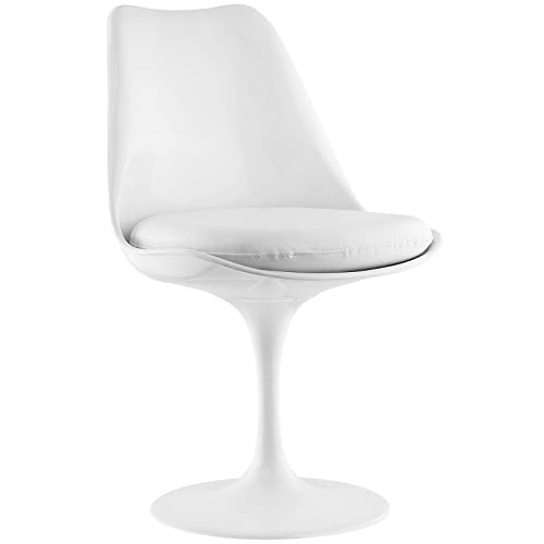 Modway Lippa Mid-Century Modern Faux Leather Cushion, Dining Side Chair, White