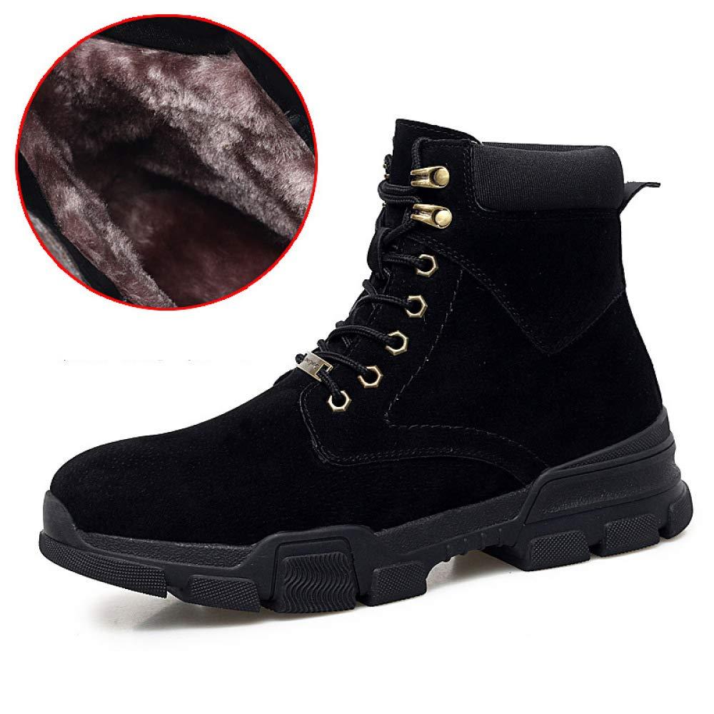 DZX Herren Stiefeletten Winter Schnee Warme Stiefel Leder Schneeschuhe Freizeitschuhe, Anti-Slip Lace Up Stiefel,schwarz-UK6(39EUR)