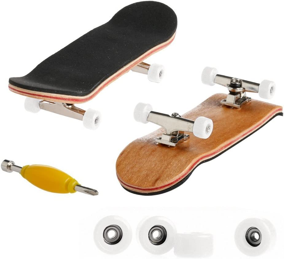 1PC Maple Wooden Alloy Fingerboard Finger Skateboards With PU Non-slip Pad and Box Reduce Pressure Kids Gifts black