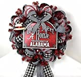 Alabama Crimson Tide Fan With Welcome Sign Deco Mesh Door Wreath