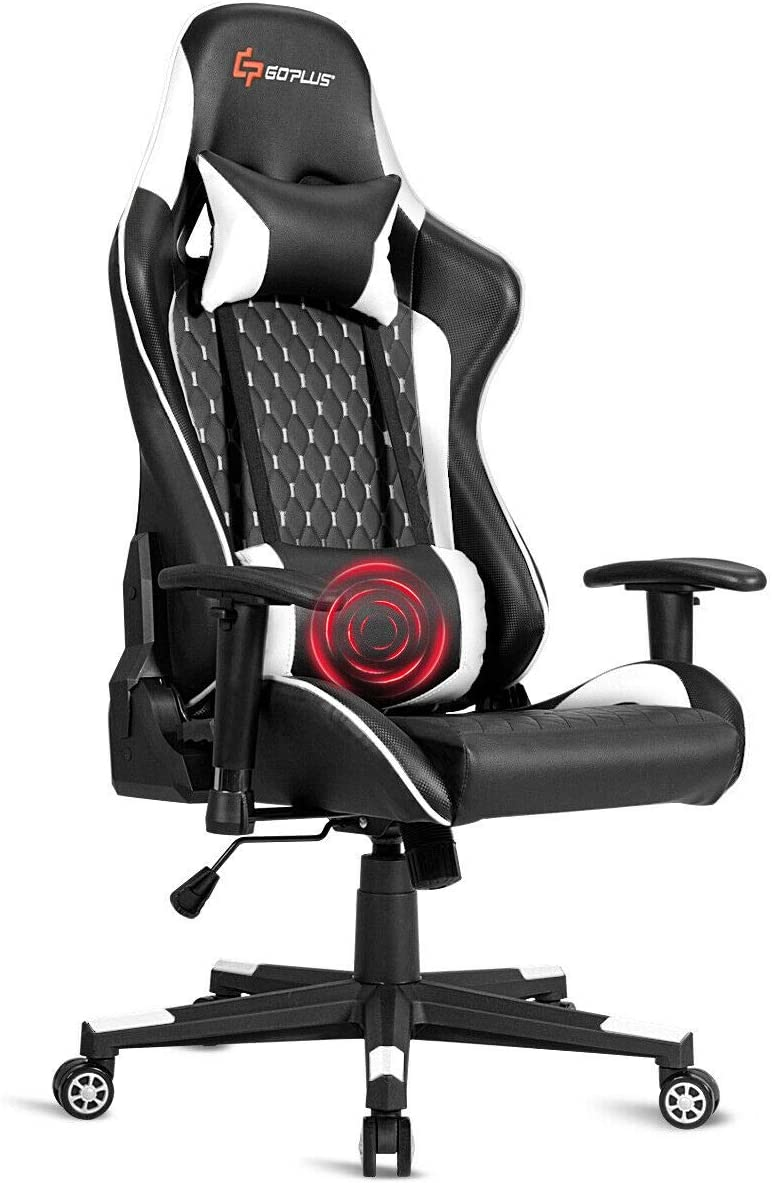 Goplus Massage Gaming Chair, Reclining Backrest Handrails and Seat Height Adjustment Racing Computer Office Chair, Ergonomic High Back Embroidered PU Swivel Game Chair with Headrest and Lumbar Cushion