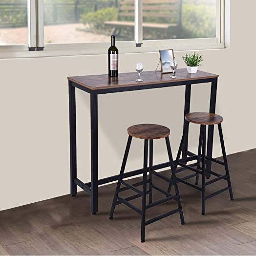 Rosiest 28 Inch Bar Stool Bistro Square Leg Household Counter Height Dining Table