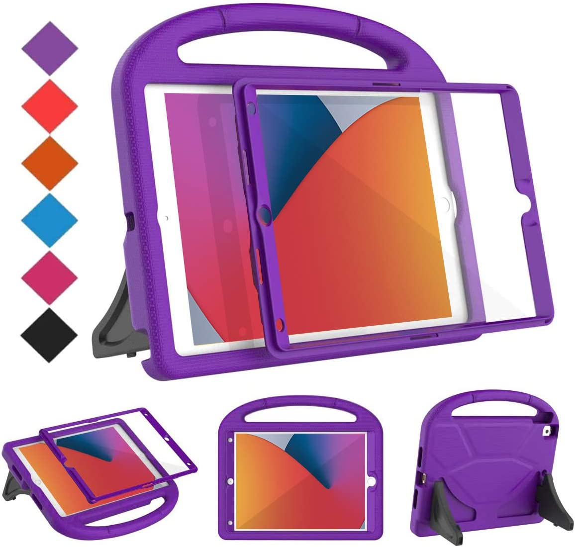 """BMOUO Kids Case for iPad 10.2 2019/2020, iPad 10.2 Case - Built-in Screen Protector for iPad 7th/8th Generation Case, Shockproof Light Weight Handle Stand Case for New iPad 10.2"""" 2019/2020 - Purple"""