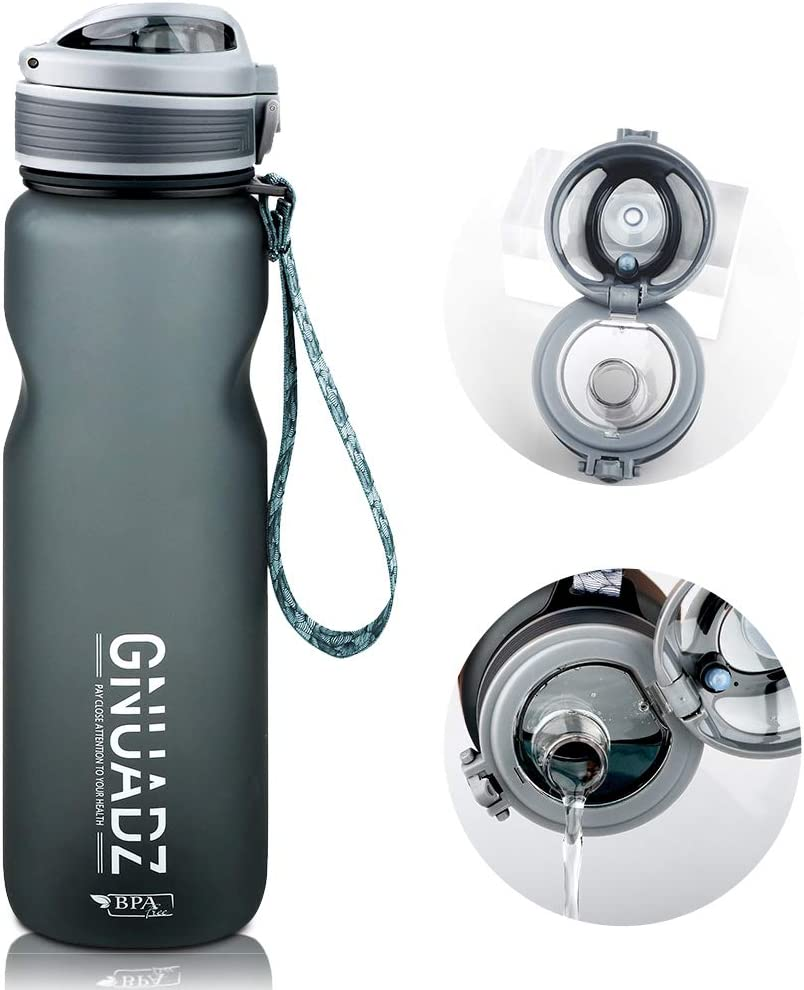 GNUADZ 36oz Motivational Water Bottle with Time & Capacity Marker, Leak-Proof Tritan BPA Free Sports Plastic Water Bottle, Ensure You Drink Enough Water for Fitness, Gym, Camping, Outdoor Sports