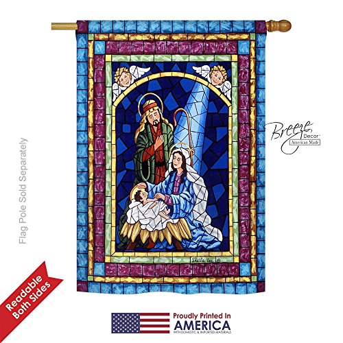 """Breeze Decor H114123 Stained Glass Nativity Decorative Vertical House Flag, 28"""" x 40"""", Multicolor -  BD-NT-H-114123-IP-BO-DS02-US"""