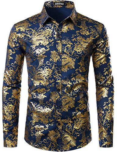 ZEROYAA Men's Luxury Paisley Gold Shiny Printed Stylish Slim Fit Button Down Dress Shirt ZLCL18 Navy Gold Small