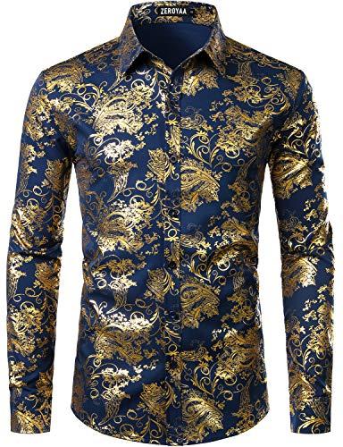 ZEROYAA Men's Luxury Paisley Gold Shiny Printed Stylish Slim Fit Button Down Dress Shirt ZLCL18 Navy Gold Small]()