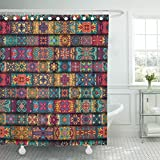 TOMPOP Shower Curtain Bohemian Colorful Vintage with Floral and Mandala Can Be Used Carpet Arabic Indian Ottoman Motifs Mosaic Waterproof Polyester Fabric 72 x 72 inches Set with Hooks