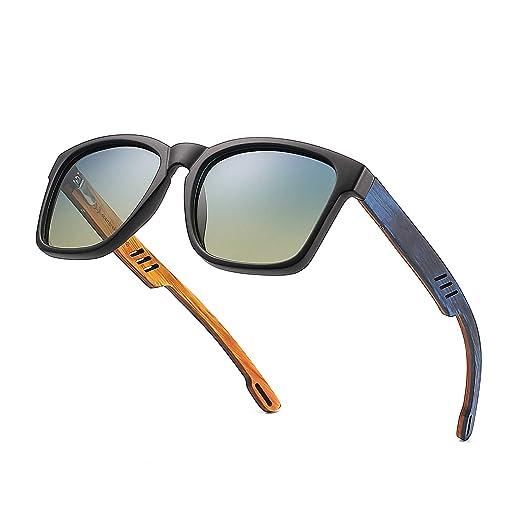 3255a19efe Divvsck Zebra Wood Sunglasses with Polarized Lenses For Men Woman (Black  Frame Blue and