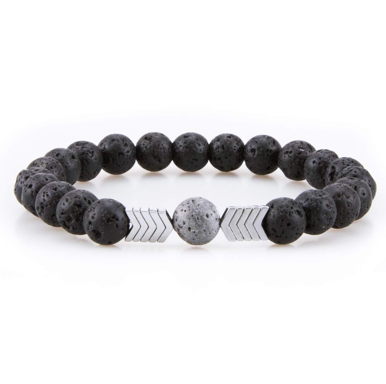 Bivei Lava Rock Stone Bead Hametite Therapy Arrow Aromatherapy Essential Oil Diffuser Bracelet anbivi11122059