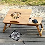 GHKLGY Folding Laptop Table, Laptop Stand Laptop Table, Bamboo, Cooling, Folding Lifting Writing Desk (USB Interface, Silent Fan) , A