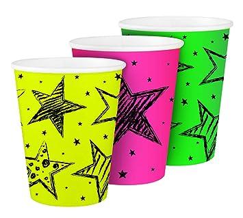 Folat 6 x * Neon - Vaso * para cumpleaños o Fiesta Vasos de ...