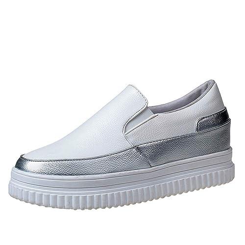 Mocasines de Mujer Zapatos de Plataforma Inferior Gruesa Primavera Verano Slip-on Cómodas Creepers para Damas de Color Negro Plateado: Amazon.es: Zapatos y ...