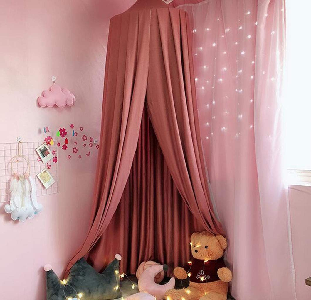 JBHURF Children's Mosquito Net Canopy Bed Princess Wind Bed Head Shade Curtain Ceiling Mosquito Net Game Mosquito Net Suitable for Home Bedroom Children's Bed (Color : Pink) by JBHURF