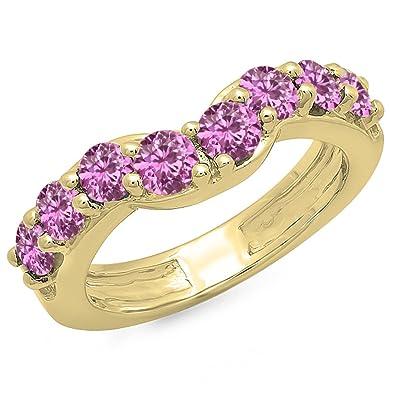 Saphir Collection Rose 00 14k Dazzlingrock Ronde 1 Carat Femme Or 4LR3jq5A