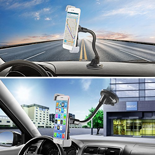 7c441b5ce89dd4 lovely IPOW Car Phone Mount, Diagonal Clamp Full-View Windshield/Dashboard  Car Phone