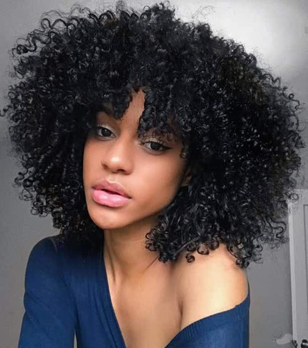 Wiger Short Afro Wig Kinky Curly Wigs For Black Women Heat Resistant Fiber Synthetic Gluless Full Wigs Black Beauty Amazon Com