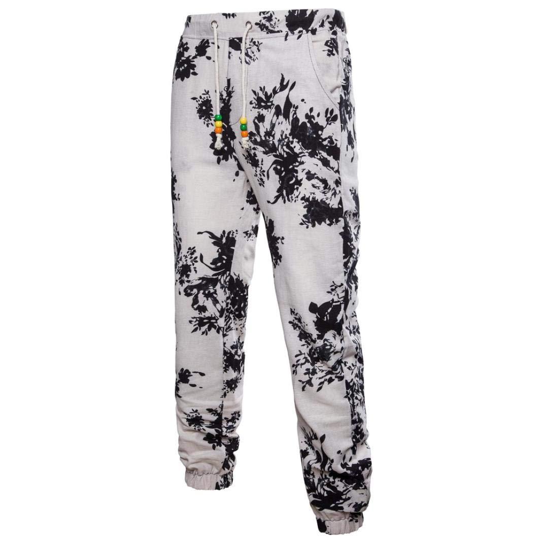Realdo Hot!Clearance Sale Casual Floral Print Trousers Sweatpants Elastic Waist Creative Jogger Pants for Men(XX-Large,Black)