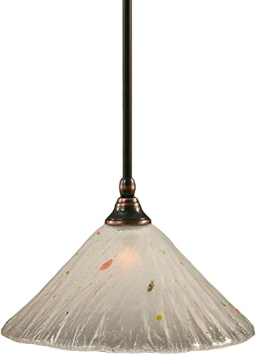 Toltec Lighting 23-BC-701 Stem Mini-Pendant Light Black Copper Finish with Frosted Crystal Glass, 12-Inch