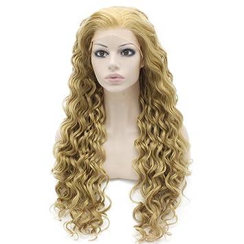 Iwona Long Blond Cendré Bouclés Lace Front Cheveux Synthétiques