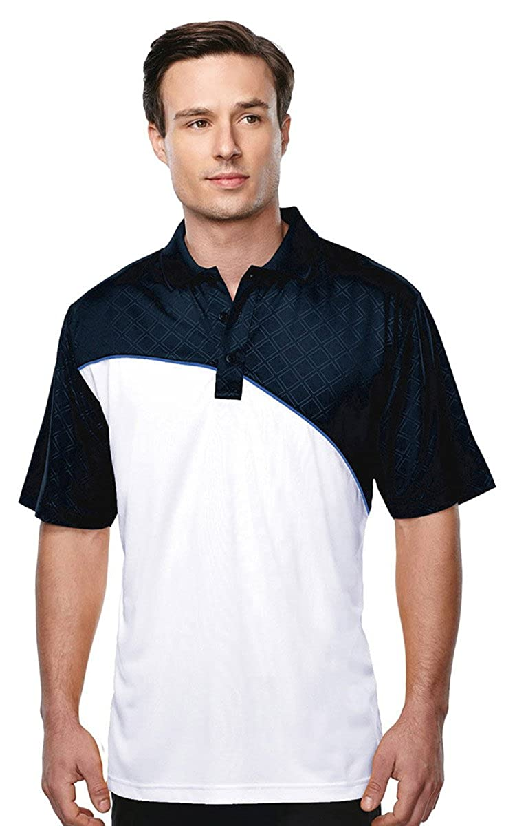 Mens Moisture Wicking Color Block Sports Elite Performance Polo Shirt 5 Colors