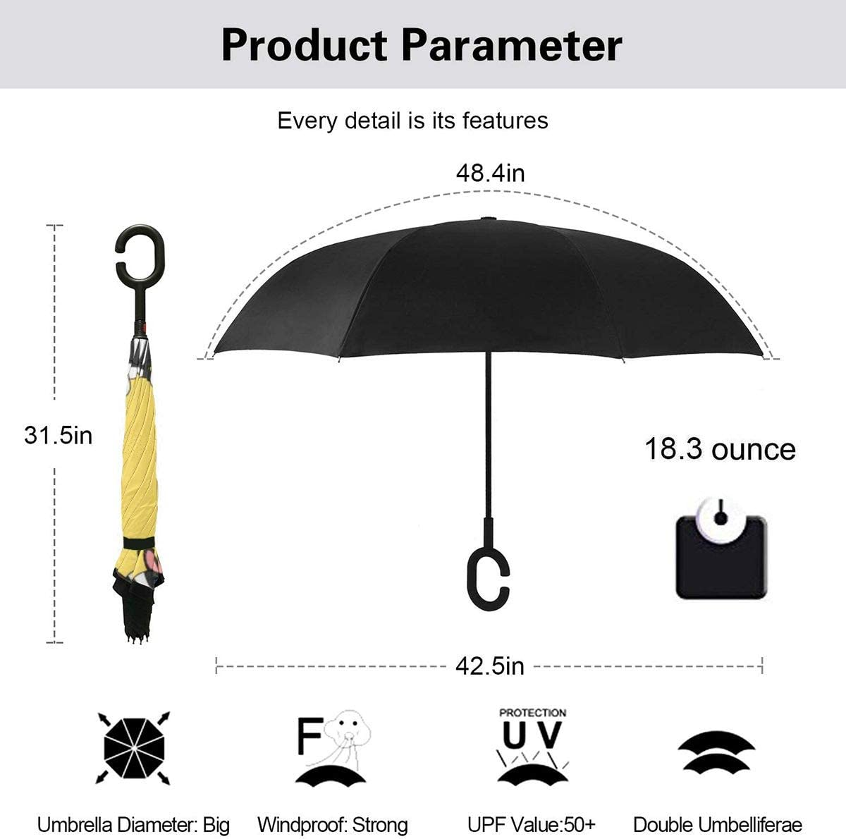 Self Stand Upside Down with C-Shaped Handle Folding Reverse Umbrella for Car Rain Outdoor PYFXSALA French Dogs Windproof Inverted Umbrella Double Layer UV Protection