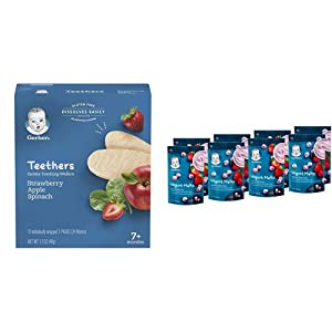 Gerber Teethers Gentle Teething Wafers - Strawberry Apple Spinach, 6 Count & Yogurt Melts, Strawberry & Mixed Berry, 8 Count