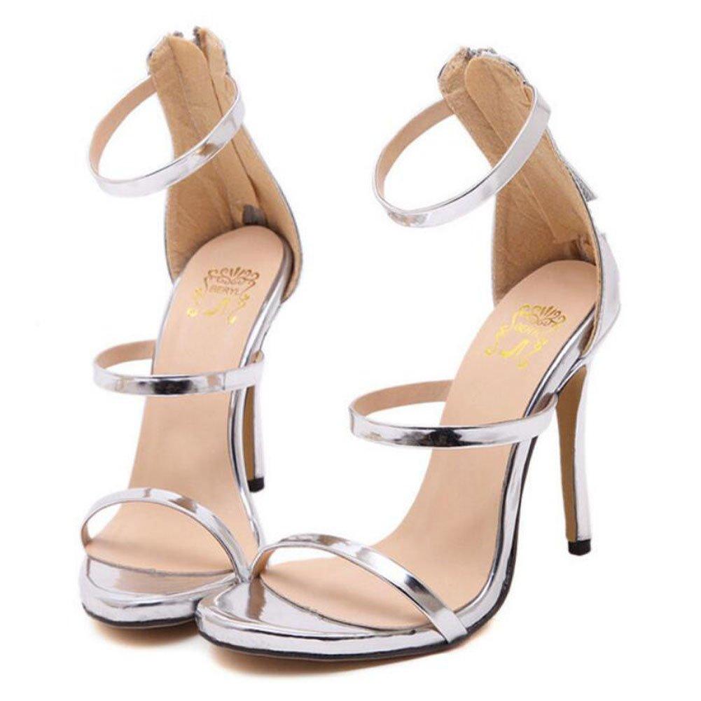 GAOLIXIA Tacones Altos de Las Nuevas Mujeres del Verano de Tacón Alto Perforado Sandalias de Punta Abierta Zapatos de Moda 4 Colores (Color : Plata, Tamaño : 38) 38|Plata