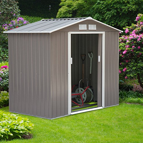 New MTN-G 7'x4' Outdoor Garden Storage Shed All Weather Steel Tools Utility Backyard Lawn