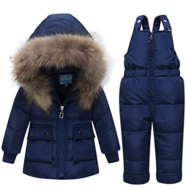 15b16ebb Amazon.com: Happy childhood Baby Boys Girls 2PCS Thicken Down Snowsuits  Warm Hooded Faux Fur Jacket with Warm Bib Pants Winter Overalls Navy 80:  Clothing