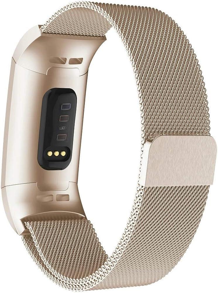 Bracelet Montre,Bracelet Montre Homme, for Fitbit Chargeur 3 Montre en métal magnétique Bracelet métal (Noir) Bracelet pour Montre Champagne Gold