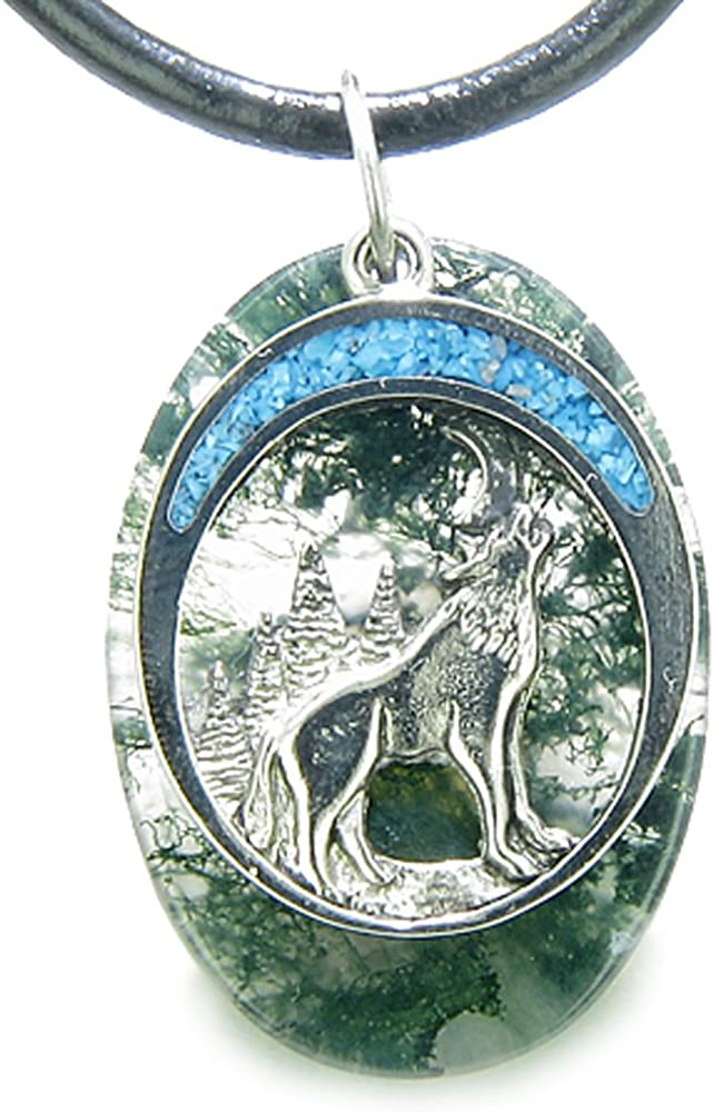 Howling Wolf Moon Amulet Good Luck Powers Moss Agate Gemstone Leather Pendant Necklace