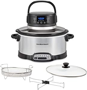 Hamilton Beach 2-in-1 Fry Slow Cooker with Air Fryer Lid, 6 Quarts, 4 Programmable Settings, Dishwasher Safe Crock, Black (33061), SILVER