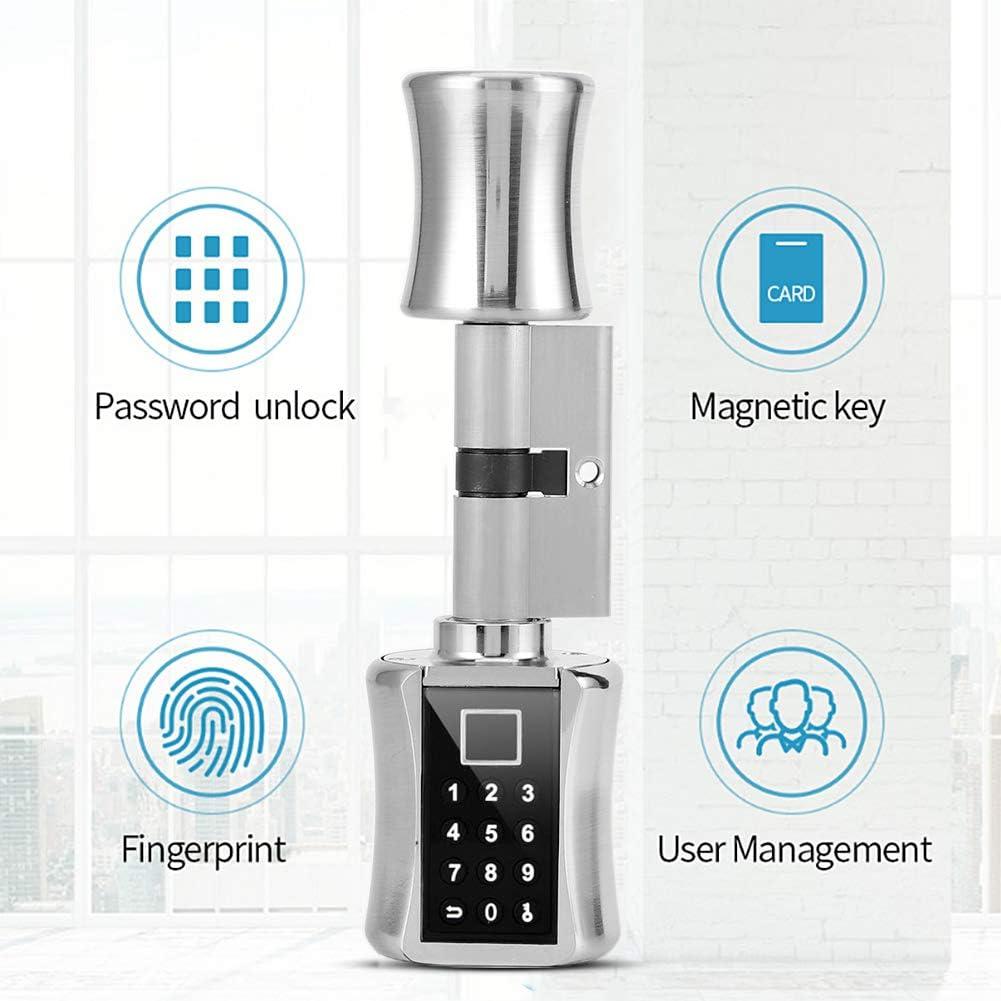 Passwort-T/ürschloss aus Zinklegierung f/ür Privathaushalte Intelligentes biometrisches Fingerabdruck-T/ürschloss Apartments runder 3-in-1-Fingerabdruck Hotels und B/üros 60mm Schl/üssel
