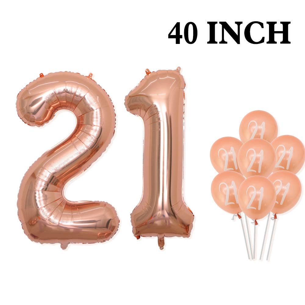 Rose Gold Number 50 Balloons - Large, 40 Inch Foil Rose Gold Balloons |Rose Gold Latex Balloons with White Prints Balloons for 50th Birthday Party Decorations|Party Supplies for 50 Anniversary Decor.