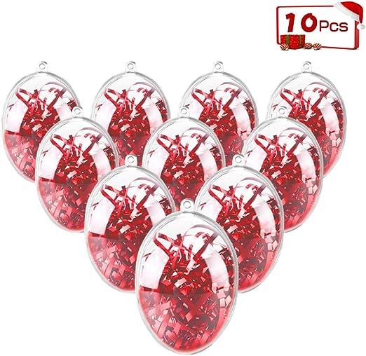 5//10Pcs Clear Plastic Heart Shape Ball Fillable Baubles Christmas Tree Decor Sof