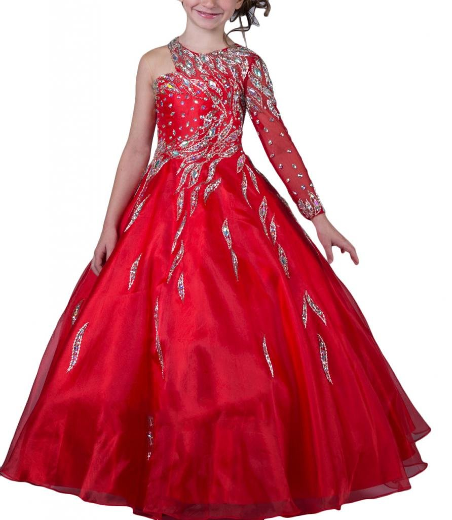 Hanayome Girls Pageant Flower Girl Wedding Gowns R131 Red 10 by Hanayome