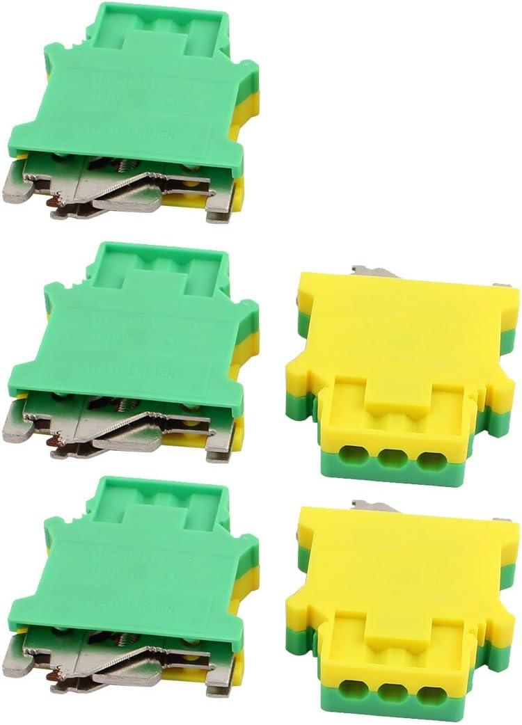 sourcing map Los bloques de terminales del riel e//uk terminan el soporte del tap/ón para el carril de 35 mm 5pcs