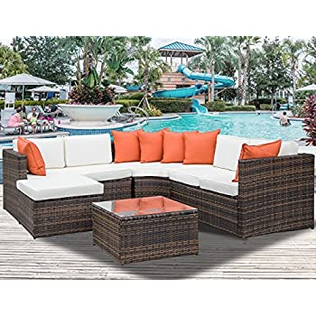 Leisure Zone 5 Piece Patio Furniture Set Outdoor Sectional Conversation Set  With Soft Cushions (Cushion Beige)