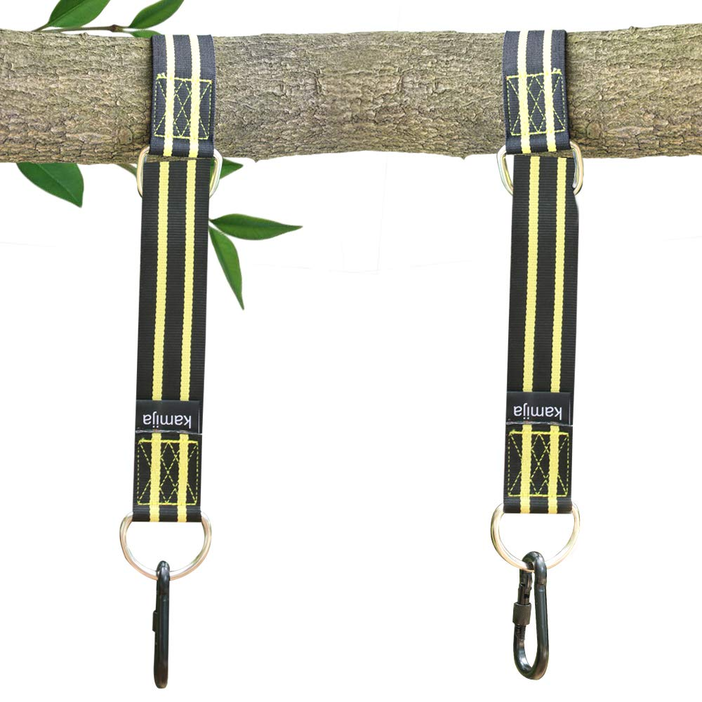kamija Tree Swing Hanging Straps Kit Holds 2200 LBs, 1.5M Extra Long Straps Strap with Safer Lock Snap Carabiner Hooks Perfect for Tree Swing, Hammocks & Tire