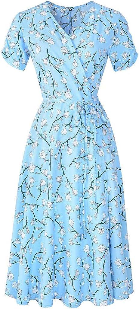 Sweetop Vestidos mujer ropa mujer vestidos mujer verano mujer vestido longuette con impresión casual de manga corta cuello en V turquesa L