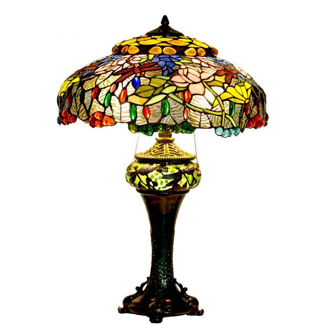 ティファニースタイルのテーブルランプ、暖かいロマンチックなレトロステンドグラスのテーブルライト、ロータスとトンボライト、リビングルーム、ベッドルーム装飾ベッドサイドライト   B07KQ5DZC3
