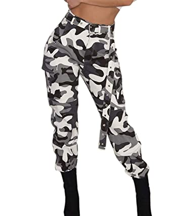 3808451e94956 ORANDESIGNE Pantalon Militaire de Combat, Femme Camouflage Cargo Casual 1  Blanc X-Small