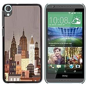 Be Good Phone Accessory // Dura Cáscara cubierta Protectora Caso Carcasa Funda de Protección para HTC Desire 820 // New York City Art Deco Painting Lights Nyc