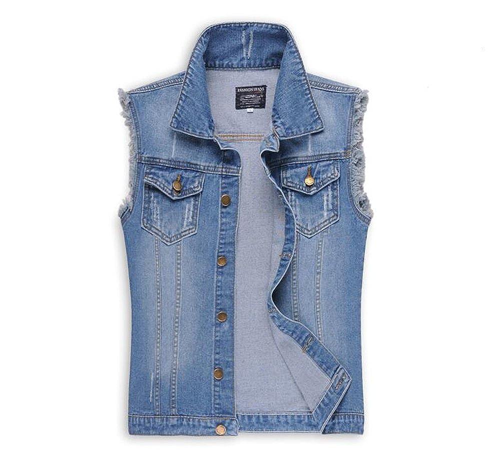 WSHINE Men's Sleeveless Denim Vest Jacket Rstro Ripped Waistcoat